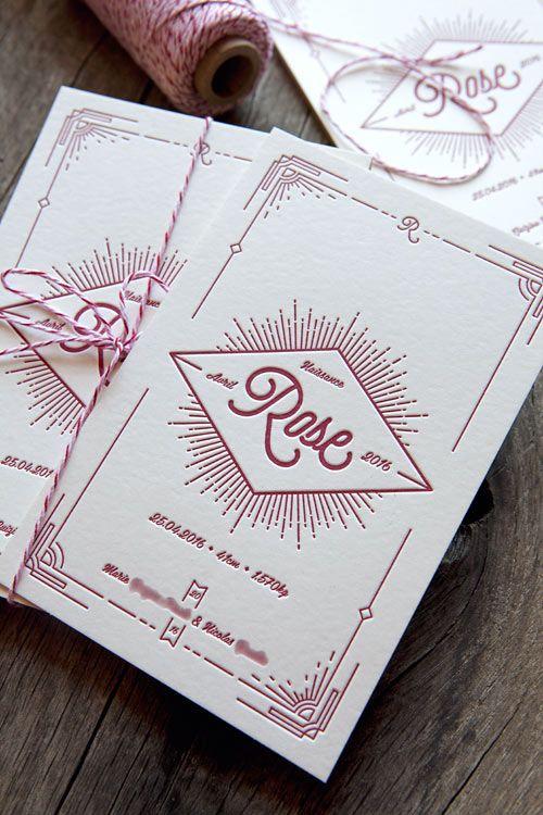 Création personnalisable Cocorico Letterpress pour carton de naissance style vintage et art déco / baby birth announcement card customizable - design Cocorico Letterpress