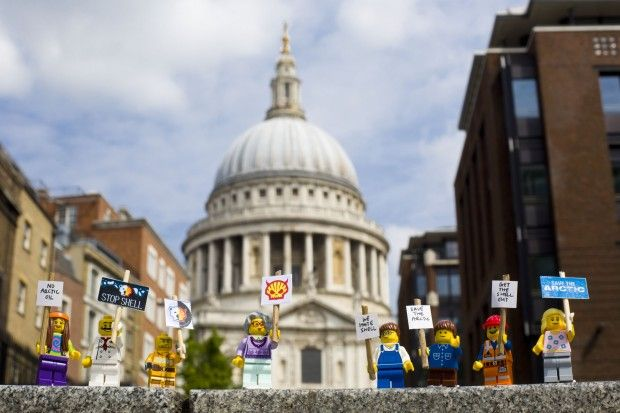 Lego mini protest in front of cathedral