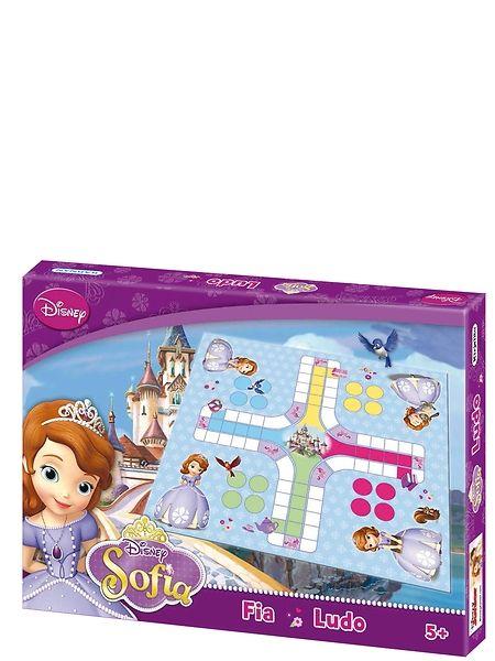 Sofia ensimmäinen, Ludo-lautapelissä prinsessapelaajat liikuttelevat pelimerkkejään satumaista linnaa kohti. Voittaja on pelaaja, joka ensimmäisenä kotiuttaa kaikki merkkinsä. 2–4 pelaajalle.
