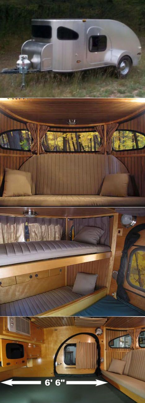 Teardrop Trailer by Wisconsin-based Camp Inn Trailers features panoramic windows, wood paneling, a couch that transforms into child-sized bunk beds, plus a roomy 6 ft + of legroom!