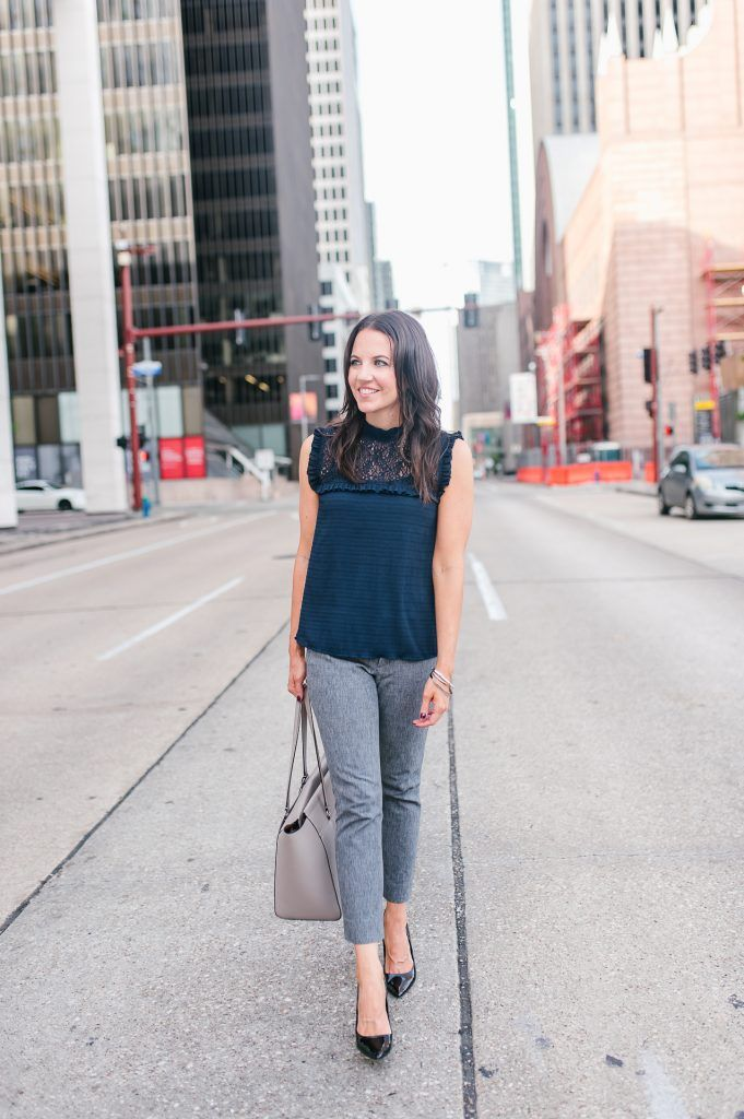 8a630d92cce317 fall work outfit   navy sleeveless blouse   gray skinny pants   Houston  Fashion Blogger Lady in Violet