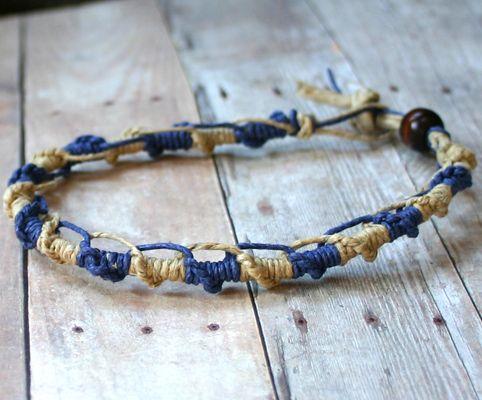Blue Natural Alternating Twist Knot Hemp Bracelet