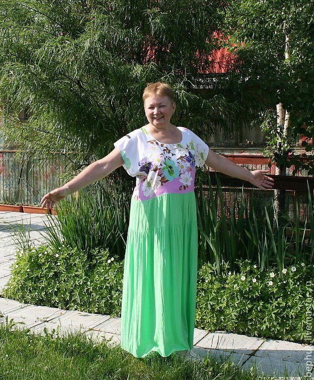 """Купить Платье """"Зеленая орхидея"""" из вискозного батиста. Авторская одежда. - ярко-зелёный, цветочный"""