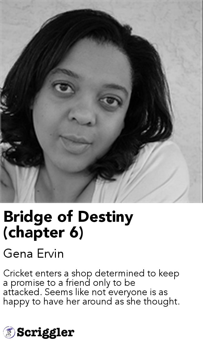 Bridge of Destiny (chapter 6) by Gena Ervin https://scriggler.com/detailPost/story/114543 Cricket enters a shop determined to keep a promise to a friend only to be attacked. Seems like not everyone is as happy to have her around as she thought.