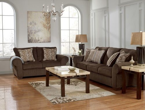 2 Pc Doralynn Collection Java Soft Fabric Upholstered Sofa And Love Seat Set