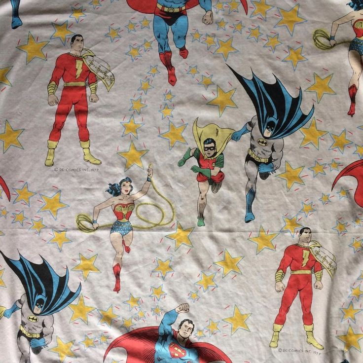 Vtg 1977 DC Comics Fitted Sheet Superman Wonderwoman