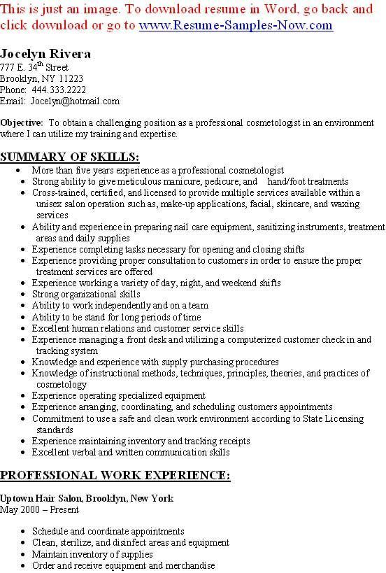 20 best Monday Resume images on Pinterest Sample resume, Resume - cosmetology resume samples
