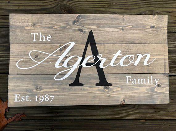 Family Established Sign Rustic Home Decor Wedding Gift