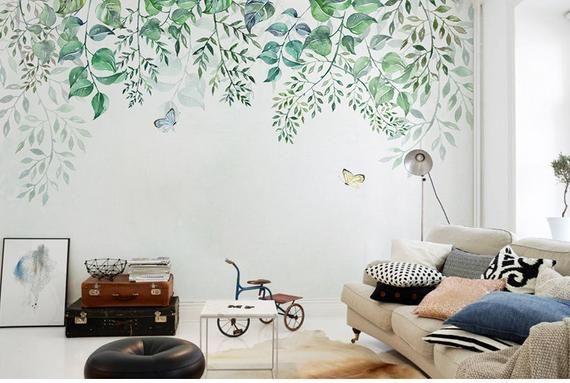 Feuilles De Vert De Ressort De Suspension Murale De Papier Etsy Avec Images Deco Papier Peint Papier Peint Stickers Muraux