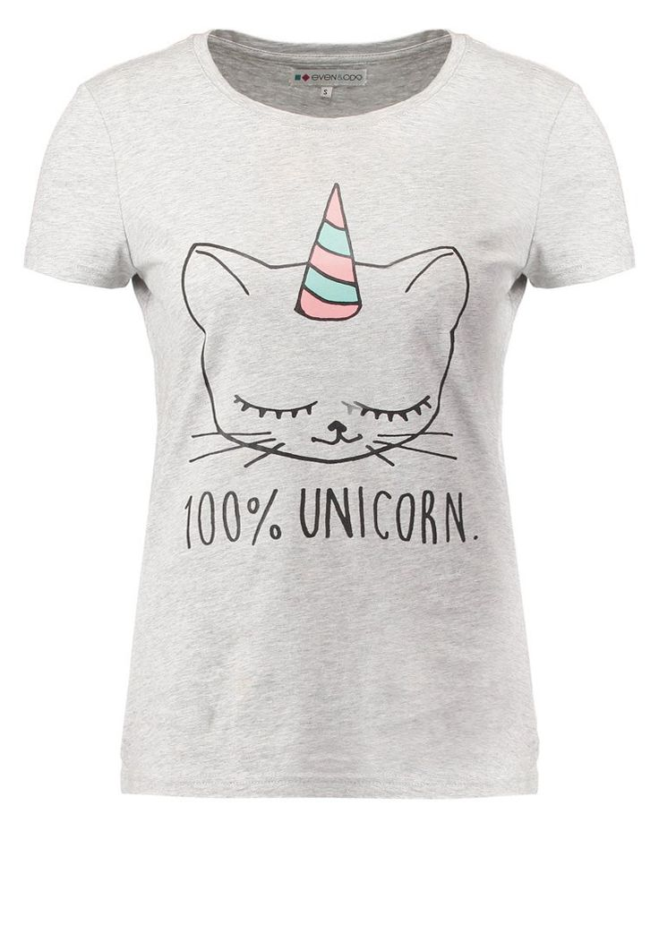 Even&Odd Tshirt z nadrukiem light grey melange 100% unicorn szara koszulka  z jednorożcem