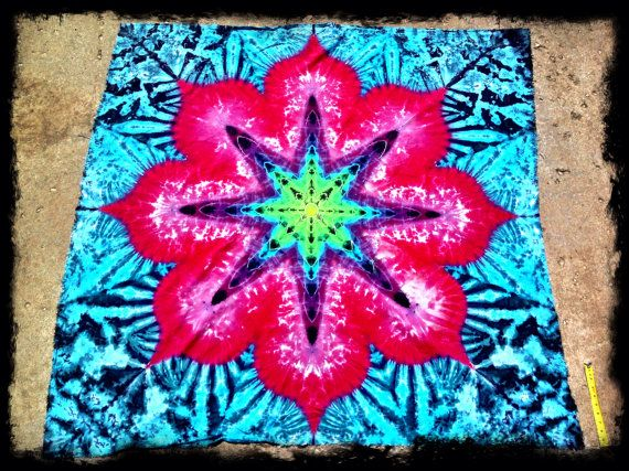 Tie-dye Tapestries Lotus Mandala Artwork by GratefullyDyedDamen