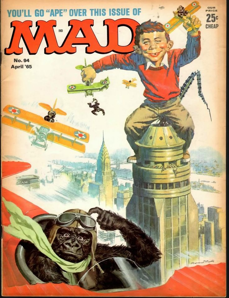 King Kong Ape Porn - Mad Magazine Go Ape King Kong Cover with Alfred E. Neuman on top of the  Empire State Building and King Kong flying a plane and scratching his head.