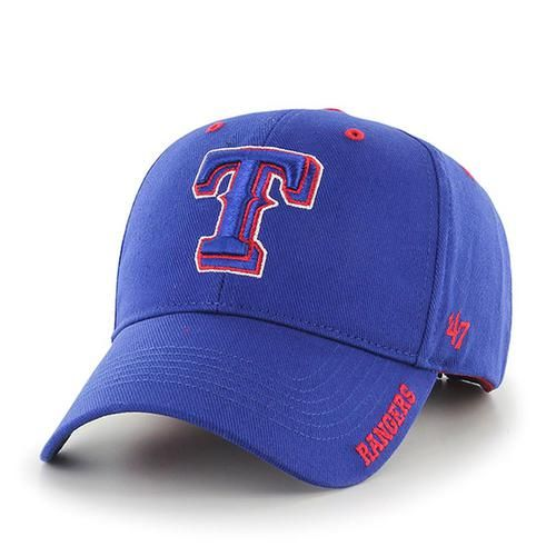Texas Rangers '47 Brand Frost Adjustable Hat . This hat displays that classic Rangers spirit. Features embroidered Rangers logos on the front as well as the bill of the hat. It is a solid 100% heavy c