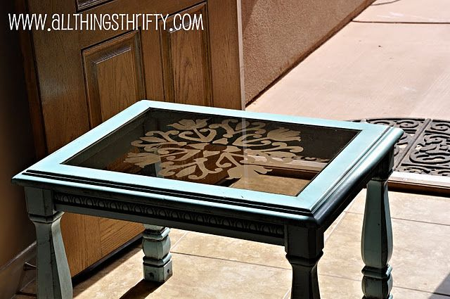 Great solution for all those horrible glass insert table ... thrift stores are probably full of them.