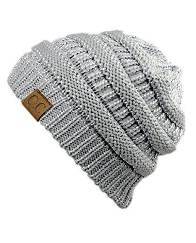 Unisex Trendy Warm Chunky Soft Stretch Cable Knit Slouchy Beanie Skully (Silver) #NYfashion101
