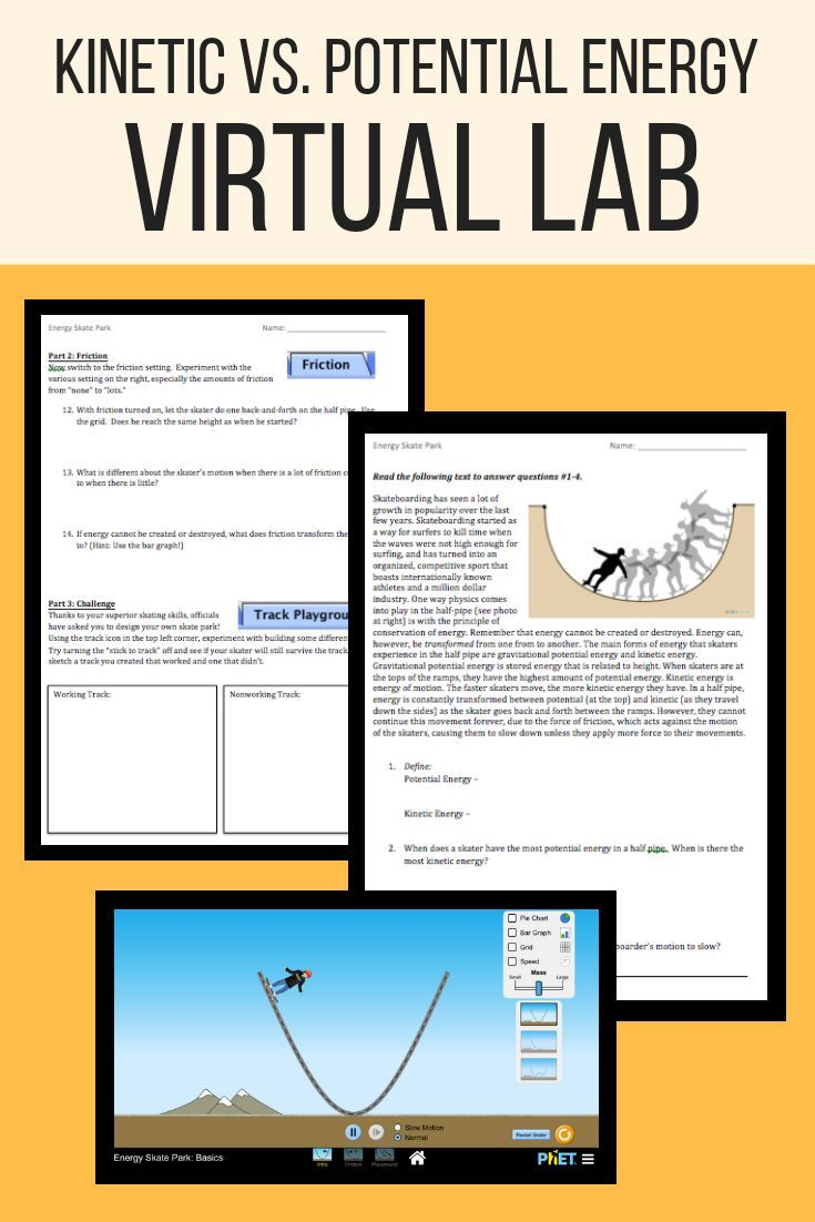 Kinetic And Potential Energy Virtual Lab Potential Energy Inquiry Activities Kinetic Energy