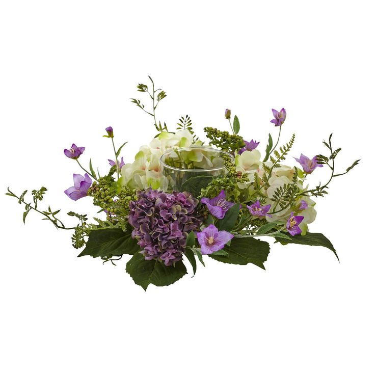 Hydrangea Berry Candelabrum - Need a little ambiance to help set the mood? This Hydrangea Berry Candelabrum is the perfect choice for any romantic dinner or revered occasion. A small glass candle holder finds itself nestled deep within a collection of delicate purple and white floral, and bright green leaves for the perfect setting. Never needing water or care, this makes an ideal gift as well. Number of Trunks: NA Number of Flowers: NA Number of Leaves: NA Pot Size: H: 5.5 In. W: 4.5 In. D…