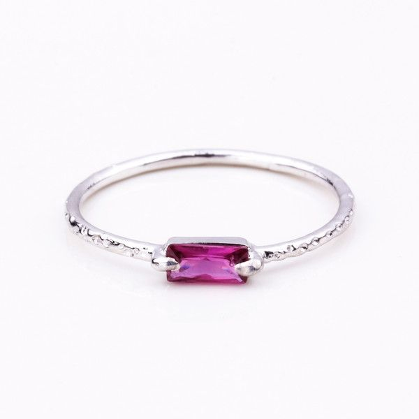 Step Silver Ring - Pink Garnet | Jane Heng Jewellery