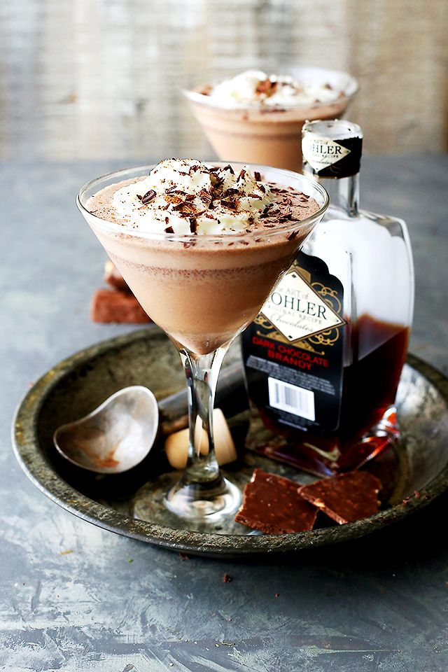 Frozen Chocolate Brandy Alexander - Our favorite Holiday cocktail made with Dark Chocolate Brandy, coffee, and ice cream.