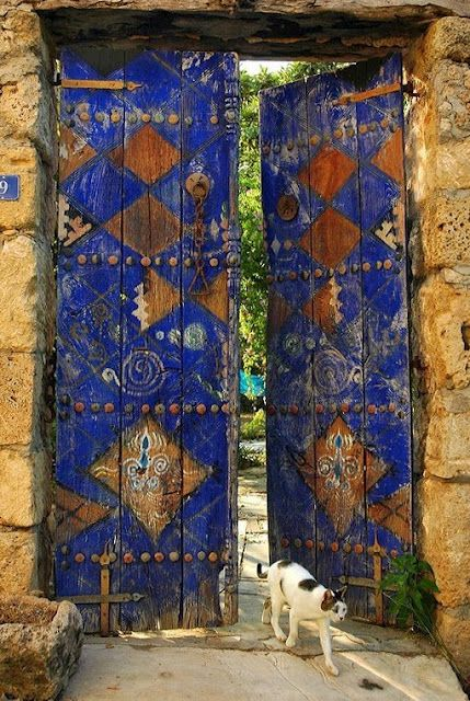 Love the doors....and the kitty :) would love to have this open into a secret garden