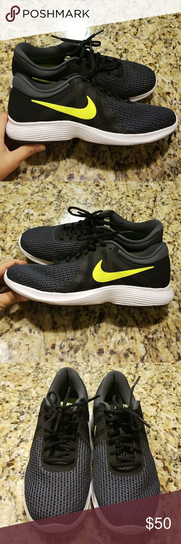 MENS NIKE REVOLUTION 3 # 908988-007 Look sporty in these Nike Revolution 3 shoes. These running shoes are equipped with a mesh upper to allow for breathability and comfort while you are on your daily run  (USED)EXCELLENT CONDITION UPPER LOOKS GREAT SOLE IS A LITTLE DIRTY PLEASE REVIEW ALL PIX😊  COLORS:Black Volt Anthracite Nike Shoes Sneakers