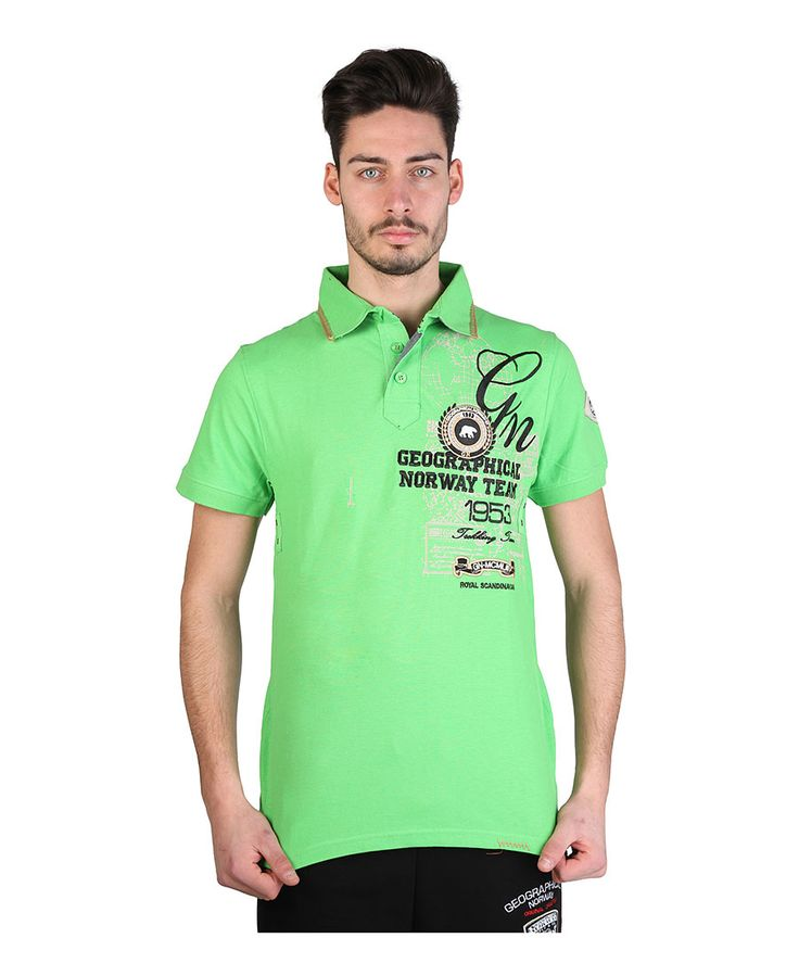 Polo man - short sleeve - multi animations  - 100% cotton piquet - wash 30° - Polo men kelov man Green