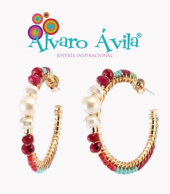 """www.alvaroavilaco.com  """"Las Joyas que te hacen feliz"""".  ARETES EN PERLAS Y PIEDRAS SEMIPRECIOSAS.   Hecho a mano."""