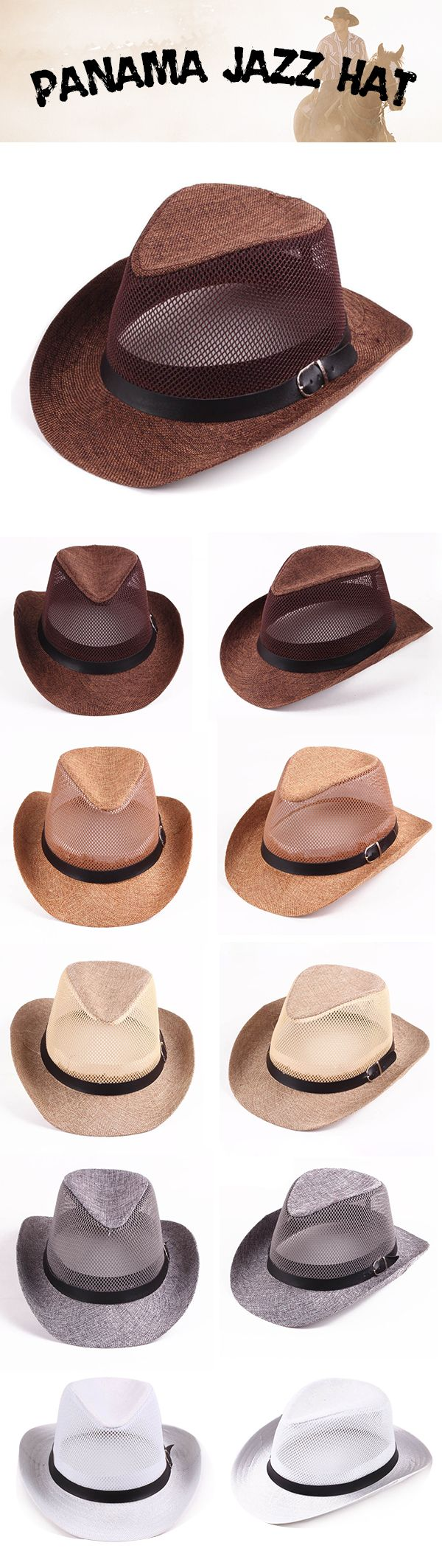 Men Hollow Out Mesh Top Hat Wide Brim Casual Braid Fedora Beach Sun Flax Panama Jazz Hat