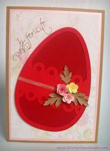 Felicitare de Paște cu ou, trandafiri și frunze de pătrunjel / Quilling Easter card with egg, roses and parsley leaves