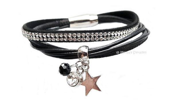 Elegante leren armband, zwart.