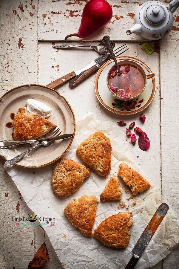 Masala Chai Pear Scones, perfect combination of chai spices and pears. Masala Chai Pear Scones are easy quick sweet. Masala Chai Pear Scones is so aromatic.