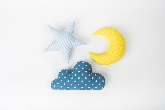 Kids Pillow set Cloud Star Moon shaped pillow - Pastel nursery room decor - Baby gift