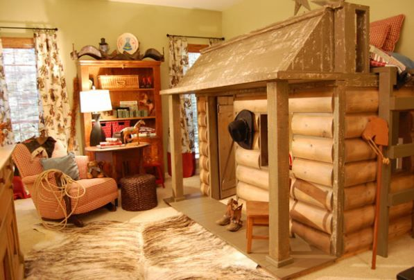 Cowgirl themed rooms this western themed room was for Log cabin style bunk beds