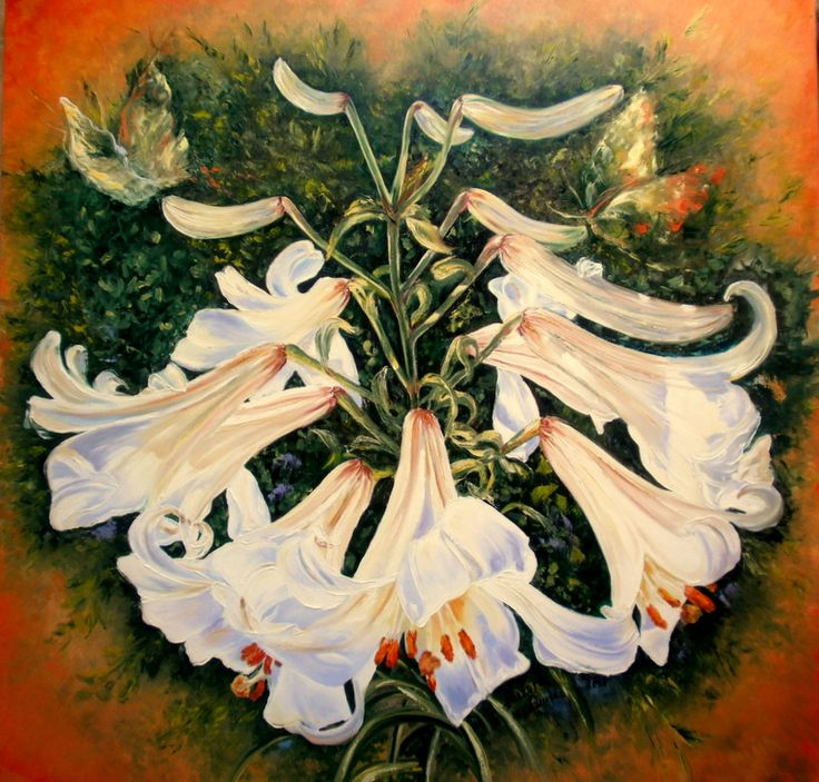 """Imperial Lily - XIV"" painting oil on canvas, 100cm/100cm, 2014"