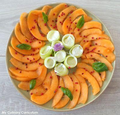 Carpaccio de melon et concombres aux baies roses