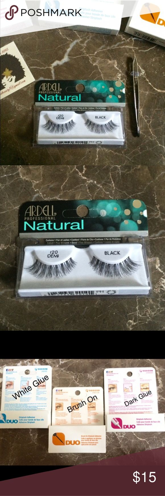 """""""Demi"""" Eyelash Kit Bundle New Eyelash Kit Bundle  Includes:  •1 Box of Eyelashes (100% human hair) •1 Tweezer ( use to apply lashes) • 1 Box of Adhesive Glue  *Before purchasing please specify which glue you would like in comments below*  • white glue  • brush on  • dark glue   Brand: Ardell   Duo   ✖️NO TRADES ✖️PRICE IS FIRM  THANK YOU FOR YOUR SUPPORT MAC Cosmetics Makeup False Eyelashes"""