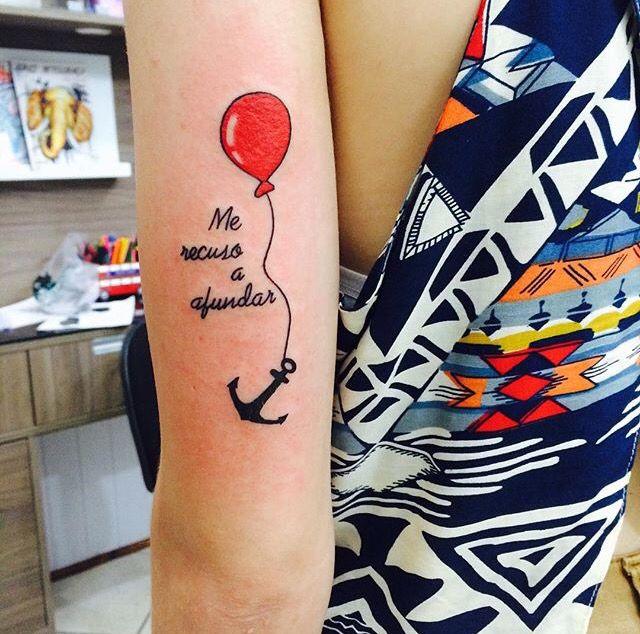 Anchor balloon tattoo