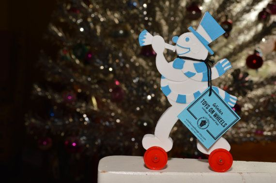 Winter Snowman Vintage Style Toy on Wheels 3D by WitchHouseDesign