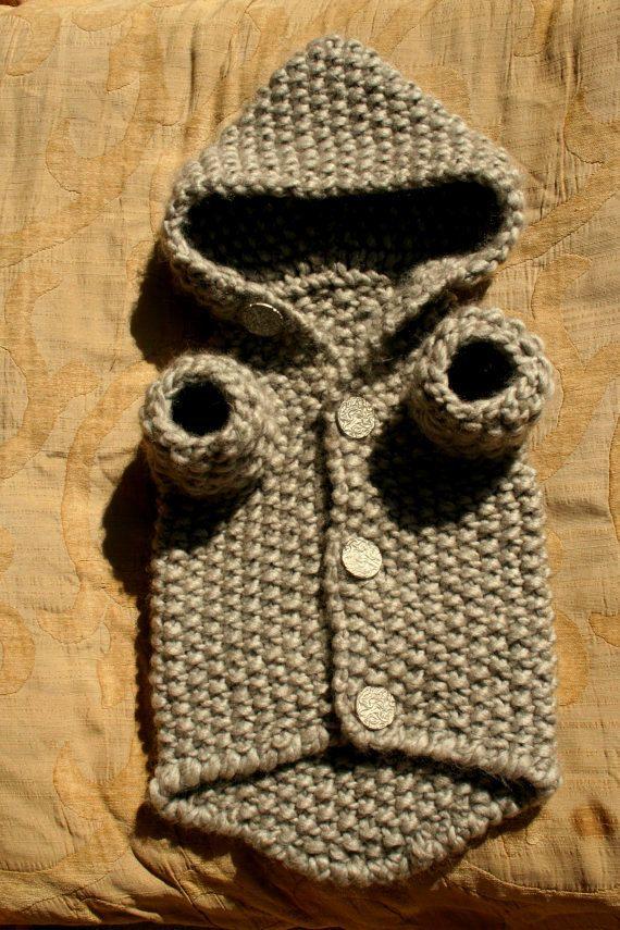 LISTO para enviar perro suéter con capucha gris ropa por BubaDog