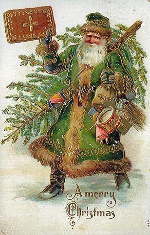 father-christmas-green-coat-christmas-tree-toys-greeting-card.jpg (308×480)
