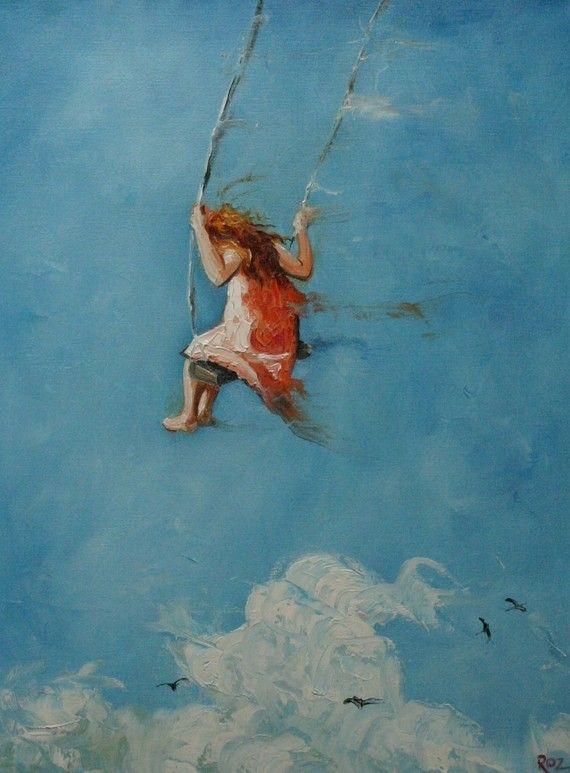 childhood: Paintings Art, Little Girls, Oil Paintings, Swings, Children, Cloud, Weights Loss Tips, Snorkeling, Memories