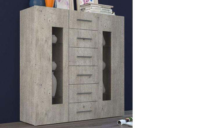 Buffet haut contemporain effet ciment et LED ORLANDO