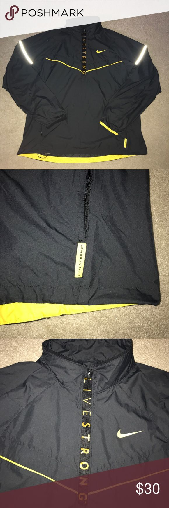 Nike livestrong Large men's Windbreaker Men's livestrong windbreaker in great condition but there is a paint stain on the shoulder Nike Jackets & Coats Windbreakers