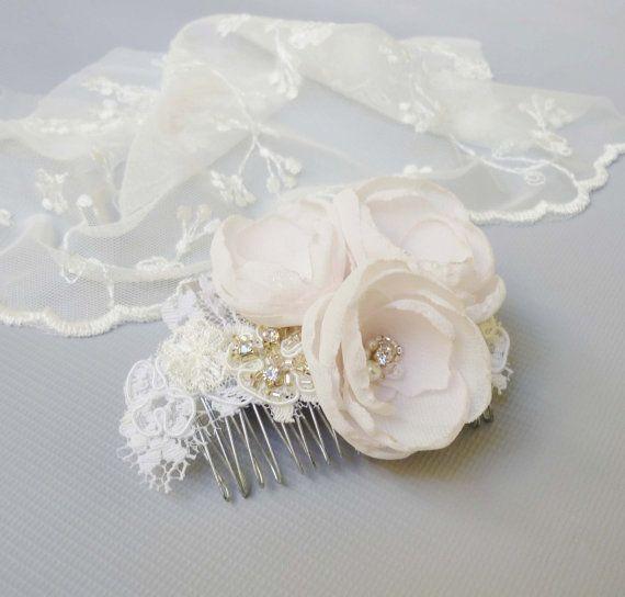 Bridal hair flower wedding fascinator lace by BABridalAccessories