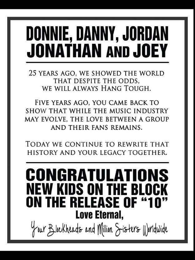 """New Kids On The Block Fans Say """"Thank You"""" With A BillboardAd"""