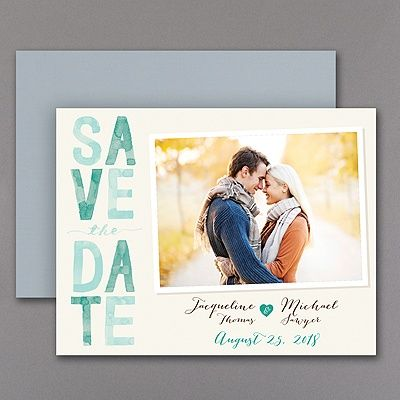 Colorful and personal - your wedding date will definitely get noticed! Shades of emerald green and your photo accent this save the date magnet with style. #CarlsonCraft
