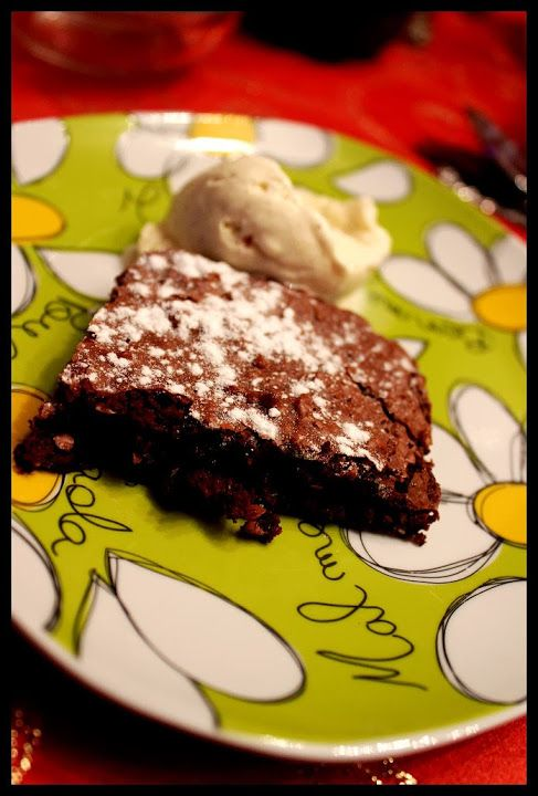 chocolate and walnut brownie with vanilla ice cream (still a hit among my friends)