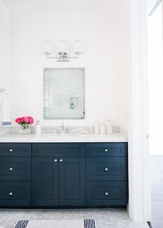Navy Washstand with Carrera Marble Countertop, Transitional, Bathroom, Benjamin Moore Hale Navy - boiys