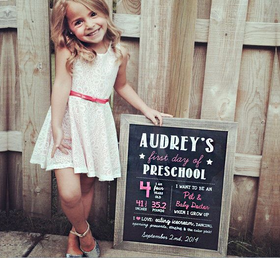 Girls first day of preschool sign - personalized preschool photo prop - pink Chalkboard Sign - DIGITAL FILE! by Printaposters on Etsy https://www.etsy.com/listing/234974881/girls-first-day-of-preschool-sign