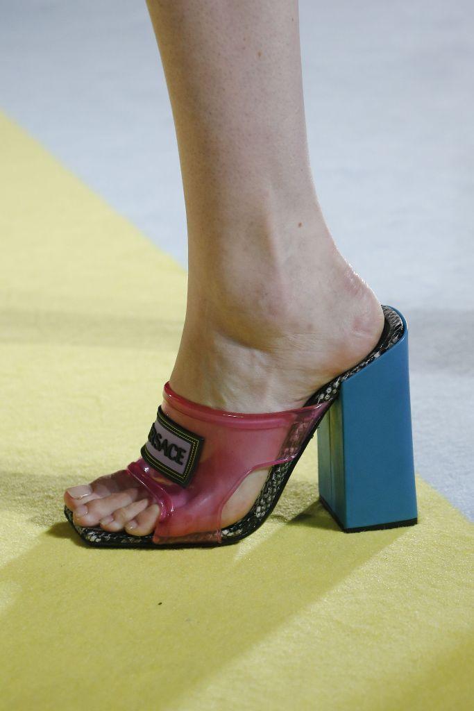Versace's PVC block heel sandals for